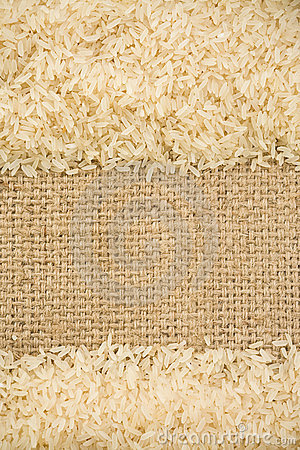 Rice grain and sack background