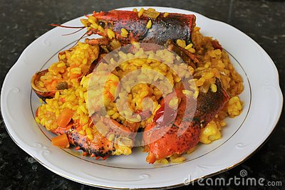 Rice with lobster seafood paella