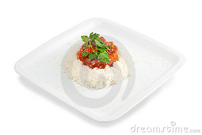 Rice with meat and vegetables with tomato sauce