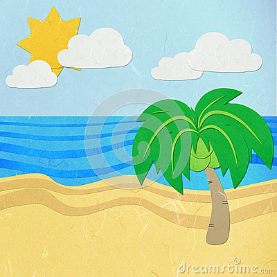 Rice paper cut green tree on a white sand beach