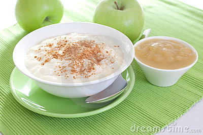 Rice pudding with apple sauce