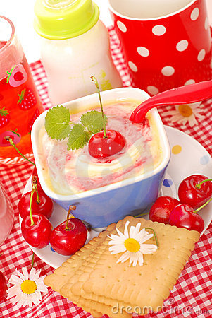 Rice pudding with with cherry for baby