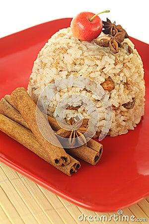 Rice pudding with cinnamon