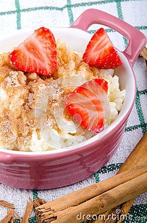 Rice pudding with cinnamon and sugar