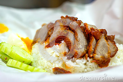 Rice with roasted red pork