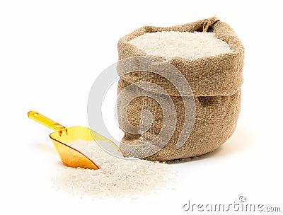 Rice sack and transparent plastic scoop