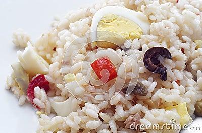 Rice salad isolated .closeup