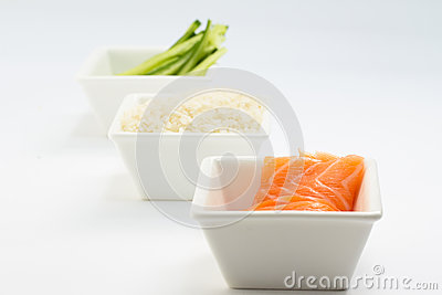 Rice salmon and sliced cucumber in white dish and white background