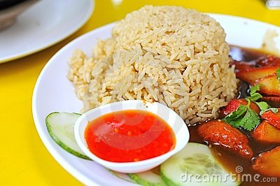 Rice set meal with pork slices