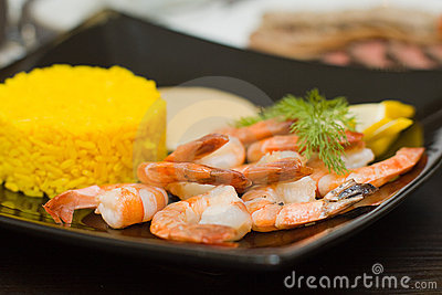 Rice and shrimps