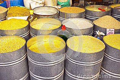 Rice, spaghetti, noodles on a market in Morocco Afri