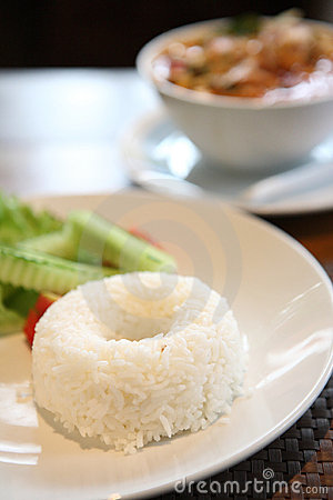 Rice with Thai traditional spicy prawn soup