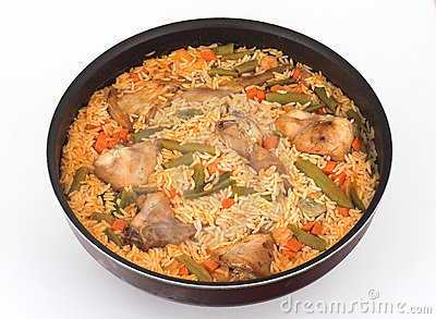 Rice, vegetables and Rabbit