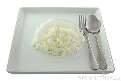 Rice in white plate.
