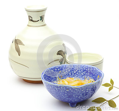 Rice wine with japanese appetizer