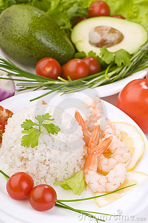 Free Rice With King Prawns Close-up Royalty Free Stock Photo - 13583385