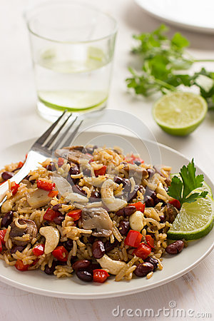 Free Rice With  Red Bean, Mushrooms And Vegetables Stock Image - 51734101