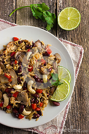 Free Rice With  Red Bean, Mushrooms And Vegetables Stock Images - 51734164