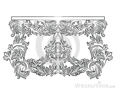 Rich Baroque commode Table with drawers Vector Illustration