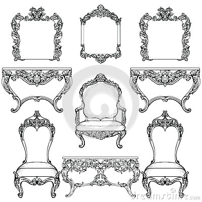 Rich Baroque Rococo furniture and frames set. French Luxury carved ornaments. Vector Victorian exquisite Style decorated Vector Illustration
