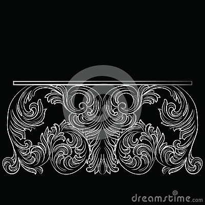 Rich Baroque Table Vector Illustration