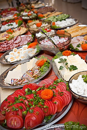Rich breakfast buffet table