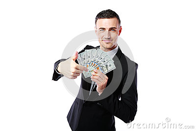 Rich businessman holding US dollars