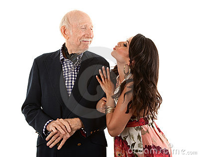 Rich elderly man with gold-digger wife