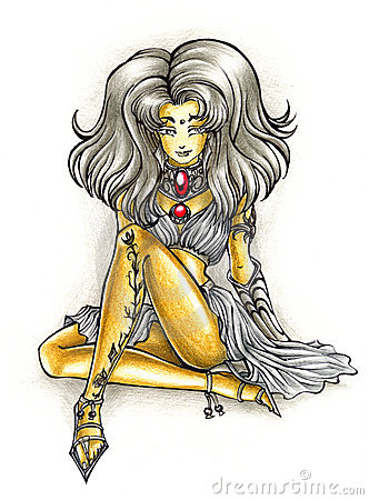 Rich girl illustration