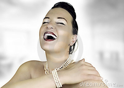 Rich girl laughing