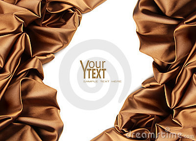 Rich golden brown satin fabric on white