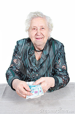 Rich Grandma With Money Stock Photo Image 3560400