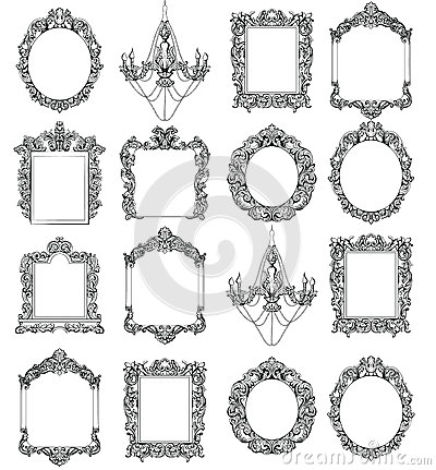 Rich Imperial Baroque Rococo frames set. French Luxury carved ornaments. Vector Victorian exquisite Style decorated Vector Illustration