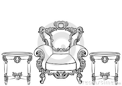 Rich Imperial Baroque Rococo furniture and frames set. French Luxury carved ornaments. Vector Victorian exquisite Style Vector Illustration