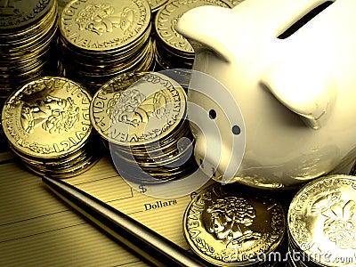 Rich Piggy Bank With Gold Coins Money