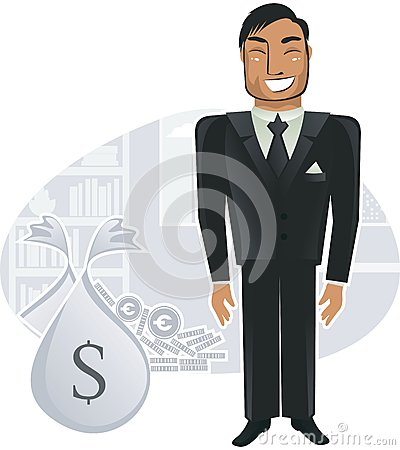 Rich worker in the office (vector)