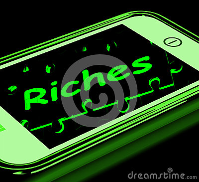 Riches On Smartphone Showing Wealth