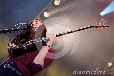 Richie James Follin, vocalist and guitarist of Guards band, performs at Heineken Primavera Sound 2013 Festival Editorial Stock Image