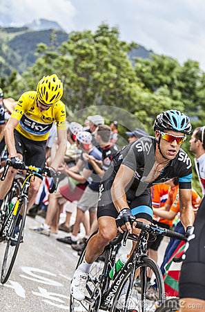 Richie Porte and Chris Froome Climbing Alpe D Huez Editorial Stock Photo