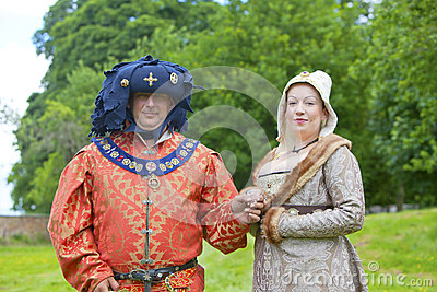 Richly dressed man and woman in medieval costume. Editorial Photography