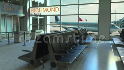 Richmond flight boarding now in the airport terminal. Travelling to the United States conceptual intro animation, 3D. Richmond flight boarding now in the airport stock footage