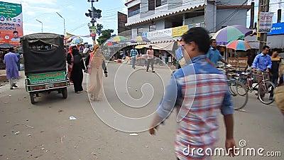 Rickshaw na ulicy w Bogra, Bangladesz zdjęcie wideo
