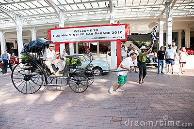 Rickshaw on Vintage Car Parade Editorial Stock Photo