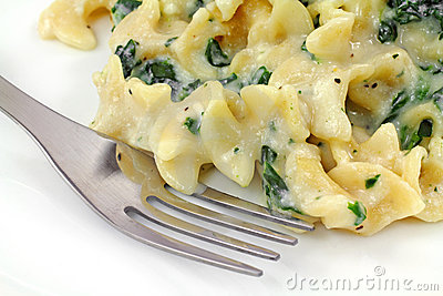 Ricotta Cheese Spinach Pasta On Plate With Fork