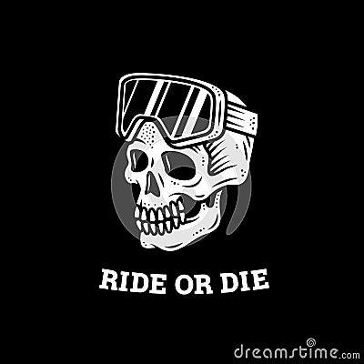 Free RIDE OR DIE SKULL SKI GOGGLES LOGO Stock Image - 139155951