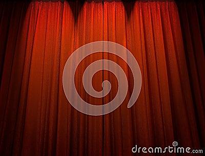 Rideau rouge en théâtre