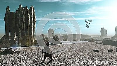 Rider on alien shoreline