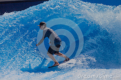 Surfing Fun Wave Pool Editorial Photo