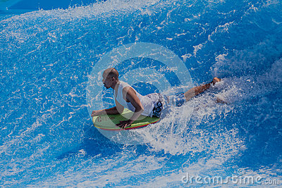 Rider Bodyboarding Wave Pool Editorial Photography