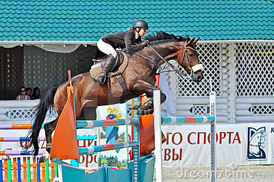 Rider with horse jumps over a hurdle Editorial Photography